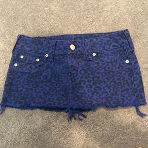 True religion jean leopard print mini skirt